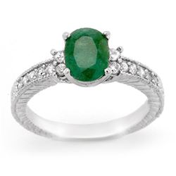 2.14 CTW Emerald & Diamond Ring 14K White Gold - REF-50F9M - 14169