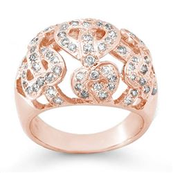 0.85 CTW Certified VS/SI Diamond Ring 14K Rose Gold - REF-106K2R - 13106