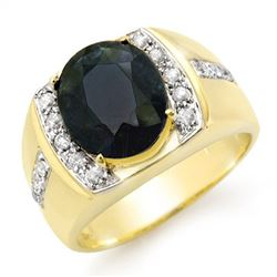 6.33 CTW Blue Sapphire & Diamond Mens Ring 10K Yellow Gold - REF-76K2R - 14484