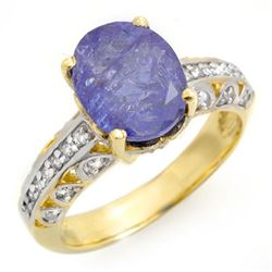 4.33 CTW Tanzanite & Diamond Ring 10K Yellow Gold - REF-114K2R - 14416