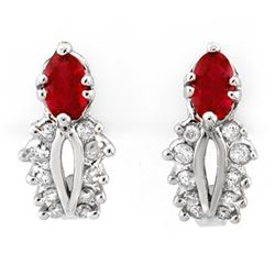 0.90 CTW Red Sapphire & Diamond Earrings 10K White Gold - REF-30W2H - 10013