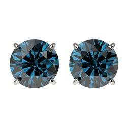 2 CTW Certified Intense Blue SI Diamond Solitaire Stud Earrings 10K White Gold - REF-249T6X - 33086