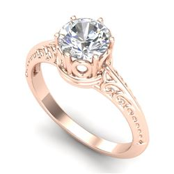 1 CTW VS/SI Diamond Art Deco Ring 18K Rose Gold - REF-298R5K - 37251