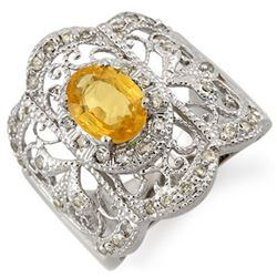 2.40 CTW Yellow Sapphire & Diamond Ring 14K White Gold - REF-92N8Y - 11245