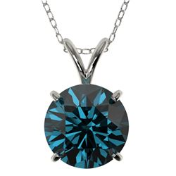 2 CTW Certified Intense Blue SI Diamond Solitaire Necklace 10K White Gold - REF-416T2X - 33236