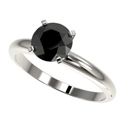 1.50 CTW Fancy Black VS Diamond Solitaire Engagement Ring 10K White Gold - REF-47H3W - 32925