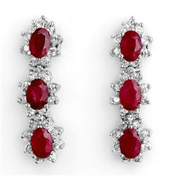 5.63 CTW Ruby & Diamond Earrings 14K White Gold - REF-115F5M - 11249