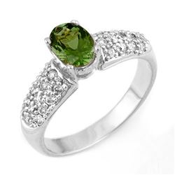 1.50 CTW Green Tourmaline & Diamond Ring 18K White Gold - REF-71K3R - 11044