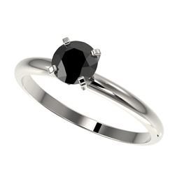 0.75 CTW Fancy Black VS Diamond Solitaire Engagement Ring 10K White Gold - REF-28Y5N - 32877