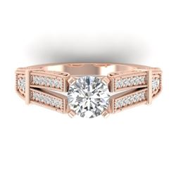 1.5 CTW Certified VS/SI Diamond Solitaire Art Deco Ring 14K Rose Gold - REF-373R3K - 30475