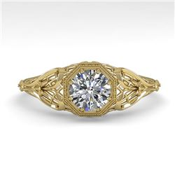 0.50 CTW VS/SI Diamond Solitaire Engagement Ring 18K Yellow Gold - REF-104X8T - 36016