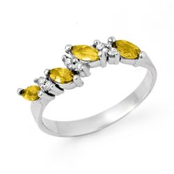1.02 CTW Yellow Sapphire & Diamond Ring 14K White Gold - REF-30M9F - 13619