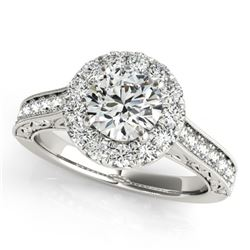 1.7 CTW Certified VS/SI Diamond Solitaire Halo Ring 18K White Gold - REF-409R6K - 26512
