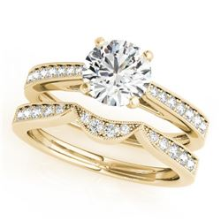 1.44 CTW Certified VS/SI Diamond Solitaire 2Pc Wedding Set 14K Yellow Gold - REF-383M8F - 31732