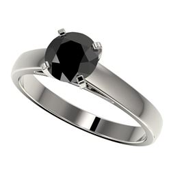 1.25 CTW Fancy Black VS Diamond Solitaire Engagement Ring 10K White Gold - REF-39F5M - 33003