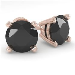2.0 CTW Black Diamond Stud Designer Earrings 18K Rose Gold - REF-63H8W - 32306