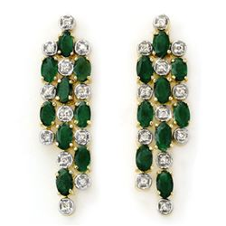 4.03 CTW Emerald & Diamond Earrings 14K Yellow Gold - REF-109F3M - 14279