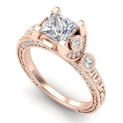 1.75 CTW Princess VS/SI Diamond Art Deco Ring 18K Rose Gold - REF-445T5X - 37149