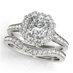 1.75 CTW Certified VS/SI Princess Diamond 2Pc Set Solitaire Halo 14K White Gold - REF-455R8K - 31367