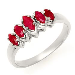 0.50 CTW Ruby Ring 18K White Gold - REF-31N6Y - 13136
