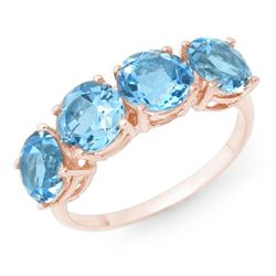 3.66 CTW Blue Topaz Ring 18K Rose Gold - REF-33X8T - 12750