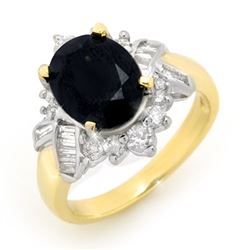 4.40 CTW Blue Sapphire & Diamond Ring 14K Yellow Gold - REF-77W6H - 13422