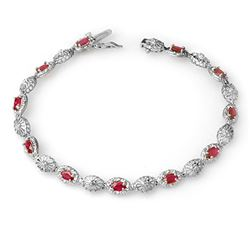 4.17 CTW Ruby & Diamond Bracelet 10K White Gold - REF-44R8K - 14302