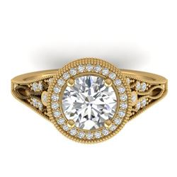 2.2 CTW Certified VS/SI Diamond Art Deco Micro Halo Ring 14K Yellow Gold - REF-681W6H - 30527