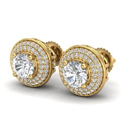 2.35 CTW VS/SI Diamond Solitaire Art Deco Stud Earrings 18K Yellow Gold - REF-400T2X - 37258