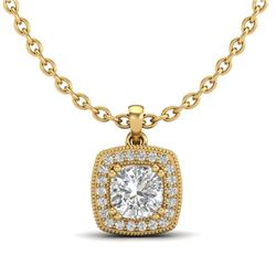 1.25 CTW Cushion VS/SI Diamond Solitaire Art Deco Necklace 18K Yellow Gold - REF-315X2T - 37039