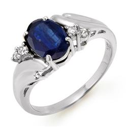 1.67 CTW Blue Sapphire & Diamond Ring 18K White Gold - REF-35K8R - 12821