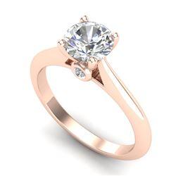 1.08 CTW VS/SI Diamond Solitaire Art Deco Ring 18K Rose Gold - REF-361X8T - 37287
