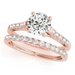 1.45 CTW Certified VS/SI Diamond Solitaire 2Pc Wedding Set 14K Rose Gold - REF-373W8H - 31695