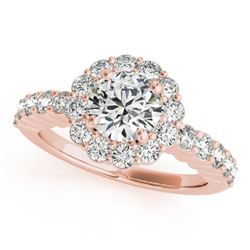 1.75 CTW Certified VS/SI Diamond Solitaire Halo Ring 18K Rose Gold - REF-408F4M - 26845
