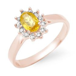 0.83 CTW Yellow Sapphire & Diamond Ring 18K Rose Gold - REF-39Y6N - 14385