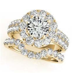 2.3 CTW Certified VS/SI Diamond 2Pc Wedding Set Solitaire Halo 14K Yellow Gold - REF-270H9W - 30887