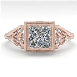 1.0 CTW VS/SI Princess Diamond Solitaire Engagement Ring Deco 18K Rose Gold - REF-344X4T - 36041