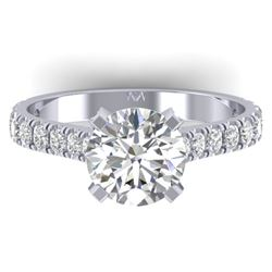 2.4 CTW Certified VS/SI Diamond Solitaire Art Deco Ring 14K White Gold - REF-674Y2N - 30441