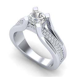 1.7 CTW Cushion VS/SI Diamond Solitaire Micro Pave Ring 18K White Gold - REF-472H8W - 37163