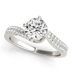 1.2 CTW Certified VS/SI Diamond Bypass Solitaire Ring 18K White Gold - REF-379W3H - 27729
