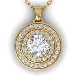 0.90 CTW Certified VS/SI Diamond Art Deco Halo Necklace 14K Yellow Gold - REF-116Y4N - 30371