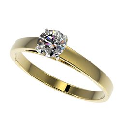 0.50 CTW Certified H-SI/I Quality Diamond Solitaire Engagement Ring 10K Yellow Gold - REF-51R3K - 32