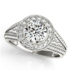 1.7 CTW Certified VS/SI Diamond Solitaire Halo Ring 18K White Gold - REF-416H4W - 26718