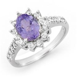 2.40 CTW Tanzanite & Diamond Ring 14K White Gold - REF-82T4X - 14365