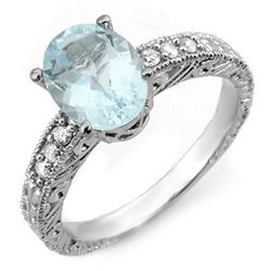 2.43 CTW Aquamarine & Diamond Ring 14K White Gold - REF-56X4T - 11072