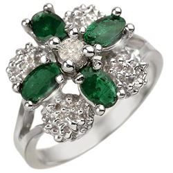 1.08 CTW Emerald & Diamond Ring 10K White Gold - REF-30K8R - 10804