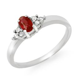 0.52 CTW Ruby & Diamond Ring 18K White Gold - REF-38R2K - 12461