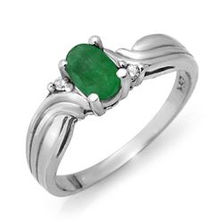 0.54 CTW Emerald & Diamond Ring 18K White Gold - REF-30T9X - 12356
