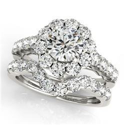 3.11 CTW Certified VS/SI Diamond 2Pc Wedding Set Solitaire Halo 14K White Gold - REF-302W2H - 30819