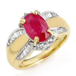 3.01 CTW Ruby & Diamond Ring 14K Yellow Gold - REF-87H3W - 12833